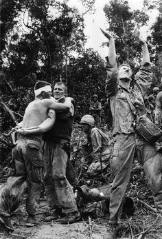 Courtesy A soldier calls down a helicopter after a deadly battle with the Viet Cong where 26 American soldiers died and 70 wounded on July 24, 1966.