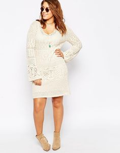 Image 4 of ASOS CURVE Swing Dress in Crochet with Fluted Sleeve