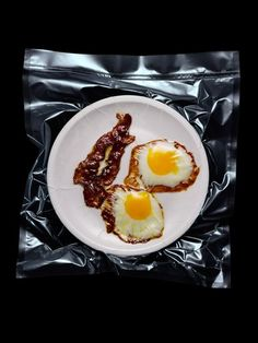 Bacon and eggs shrink wrapped #food #photography #art