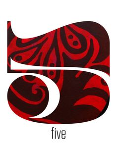Number Five, 5, Art, Numbers, Pattern, Texture, Red, Black, White, Swirls, Lucky, Children, Home Decor, Nursery