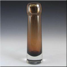Hadeland Scandinavian 70's Amber Glass Vase Labelled | eBay