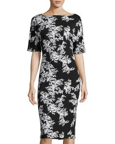 Floral-Print Short-Sleeve Sheath Dress, Black/White by Vince Camuto at Neiman Marcus Last Call.