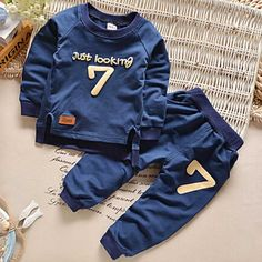 2017 Spring Baby Boy Clothes sets Casual Sports Seven Letters Tracksuit Infant Toddler Girls Clothes Top T shirt + Pants Suit Toddler Girl Outfits, Kids Outfits, Sport Outfits, Toddler Girls, Stylish Outfits, Baby Boy Fashion, Fashion Kids, Sports Tracksuits, Pantalon Costume