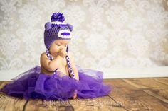 Crochet Purple Sock Monkey Baby Hat Newborn Infant Toddler Boy Girl Photo Prop Made to Order. $16.00, via Etsy.
