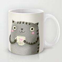 I♥kill (brown) Coffee Mug by Brown Coffee, Crackpot Café, Cute Cups, Cool Mugs, Cat Mug, Oui Oui, Cat Lover Gifts, Mug Cup, Tea Time