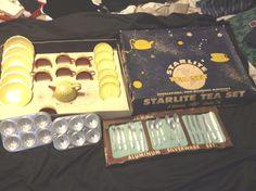 Vintage Wolverine Tin Litho Toy Tea Set in Original Box Starlite Silverware 50'S   eBay