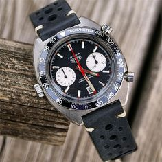 Vintage Racing Watch Strap Band on a Heuer Autavia BandRBands 20mm 22mm