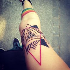 Geometric Tattoo on Leg for Girl