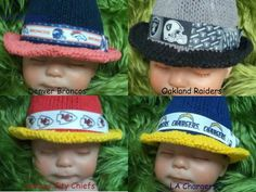 Baby Football Team Hat Fedora AFC West Chiefs Broncos Chargers Raiders Sports Shower Gift Photo Prop by GrannysGardenKnits on Etsy