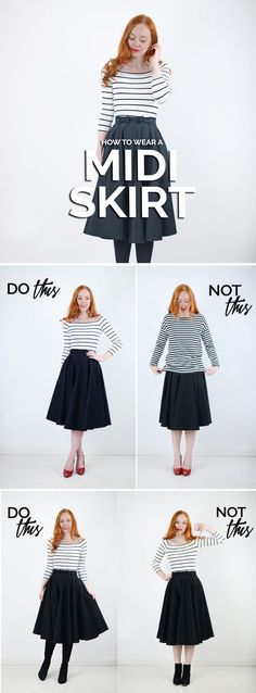 how to wear a midi skirt - and how not to wear one