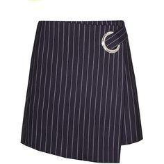 Navy PinStripe Ring Mini Skirt ($98) ❤ liked on Polyvore featuring skirts, mini skirts, pinstripe, blue mini skirt, mini skirt, navy pinstripe skirt, zipper skirt and short blue skirt