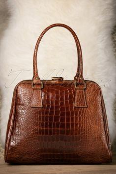 VaVa Vintage 60s Chic Suitcase Croc Handbag in Brown Leather