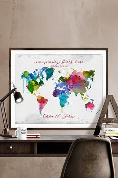 World map art print world map poster wall art abstract art large world map art print world map poster wall art abstract art large world map travel map gift office decor home decor iprintposter pinterest gumiabroncs Images