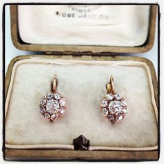 These vintage earrings take you back to the days of grand balls and galas! Old Mine cut diamonds and gold circa 1910. If these earrings could talk... Only available at Single Stone. (213) 892-0772 www. singlestone.com #gold #earrings #cocktail #gala #edwardian #party #wedding #formal #gift #sparkle #ball #grand #antique #vintage #beauty #gorgeous #sweet #fashion #forever #mine #yes #hello