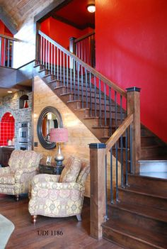 Rustic Staircase Design Ideas, Pictures, Remodel, and Decor - page 9 - Bestpin Rustic Staircase, Staircase Design, Staircase Ideas, Archway Molding, Crown Molding, House Stairs, Basement Stairs, Banisters, Wood Railing