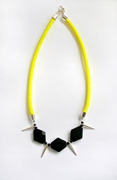 Neon rope spike necklace with faceted gemstones. $24.00, via Etsy - AlmostDone
