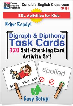 These ESL Dipthong & Digraph Task Cards are perfect for individual or group work, assessments, early finishers or as a warm-up activity! This set includes 80 self-checking cards with 16 words for each vowel set. Also included are charts for posting to a classroom board or directly into students' notebooks. Two recording sheets allow students to work independently, and just might be mistaken for fun!  #ESL #EFL #ELL