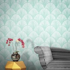 Orchid Scales Wallpaper by Michiko Design Orchid Wallpaper, Modern Floral Wallpaper, Art Deco Wallpaper, Contemporary Wallpaper, Retro Wallpaper, Designer Wallpaper, Floral Wallpapers, Pretty Art, Elle Decor