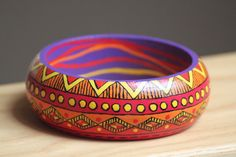 Hand painted wooden bracelet with Aztec by DeaJewelryStore on Etsy