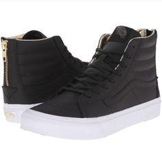 b78959a052 Vans Slim Black Leather Black High Top Sneakers