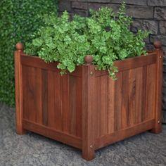 Maximize Your Plant Area With Wooden Planter Boxes : Square Acacia Wood  Calypso Patio Planter Box