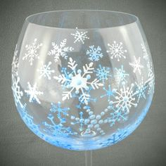 My Favorite Etsy Sellers Yep, I made that! Ready for winter? Painting Glass Jars, Painted Glass Bottles, Painted Jars, Painted Stones, Glass Art, Christmas Glasses, Wine Glass Rack, Hand Painted Wine Glasses, Wine Bottle Crafts