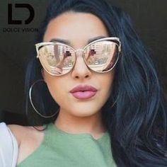3cc9f0dc721 Pink Mirror Cat Eye Sunglasses Women Gold Metal Fashion Sun Glasses For Women  Brand Designer Oculos