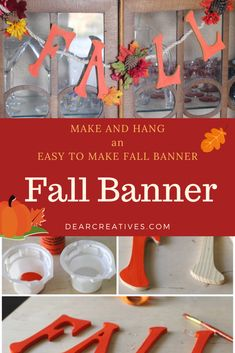Are you looking for easy ways to decorate for fall? Make fall crafts and DIY decor like this DIY fall banner! This fall banner is made with rope/twine, faux flowers, wood letters, and is easy to make! Plus, it's a budget-friendly fall craft. DearCreatives.com #diy #crafts #fallcrafts #fallDIY #DIYhomedecor #fallbanner #DIYfallbanner #autumnbanner #autumncrafts #easy #woodletters #acrylicpaint #twine #fauxflowers #funandeasy #quick #craftstomakeforfall #craftstomake #fallcraftideas… Easy Craft Projects, Crafts To Make, Diy Crafts, Fall Banner, Autumn Crafts, Wood Letters, Fall Diy, Faux Flowers, Twine