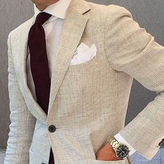 Burgundy knit tie + linen summer jacket
