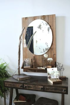 a beautiful mess blog. love love love the wood shelf with the mirror-a must do!