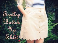 Scallop button up skirt pattern & how-to. You can never have enough scalloped skirts!