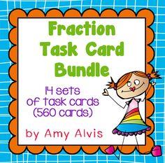 Fraction Task Card Bundle - Add Subtract Multiply Divide, $