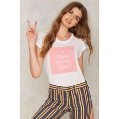 Nasty Gal Nasty Women Unite Tee (€44) ❤ liked on Polyvore featuring tops, t-shirts, linen t shirt, nasty gal, nasty gal top, linen tops and linen tee