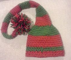 Elf stocking hat  red and green night cap  by megscutekidshop, $17.00