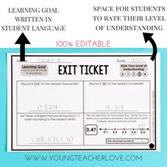 """How to Completely Transform Your Teaching with Exit Tickets This resource adjusts exit ticket assessments to include student reflective """"rate your understanding"""" and a space for the learning goal written in student language. Sixth Grade Science, Third Grade Math, Teaching Strategies, Teaching Math, Teaching Ideas, Differentiation Strategies, Maths, Professor, Instructional Coaching"""