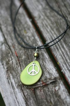 Peace a green Tagua Nut necklace by PinkBuffalo on Etsy, $14.50