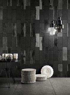 Diesel Living and Iris Ceramica tiles Ceramica Tile, Diesel, Rock Floor, Black Backsplash, Unique Tile, Feature Tiles, Wallpaper Magazine, Dark Interiors, Ceramic Wall Tiles