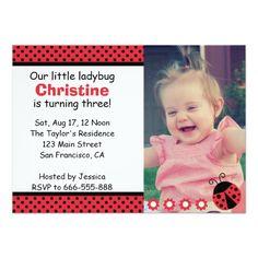Cute Ladybug birthday party, Turns 3, polka dots Custom Announcement