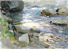Stream and Rocks- John Singer Sargent, watercolor, graphite and gouache on paper