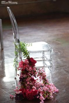 Wedding Ceremony | Clear Chair | Cascading Flowers