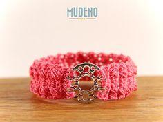 Häkelschmuck, cochet jewelry, gehäkeltes Armband / Armschmuck Silber Ring Pink Edelstahl...