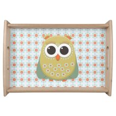 Cute Orange Green Yellow Owl on Blue Orange Floral Food Trays.  Personalized with your own text.