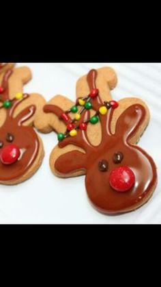 Cute reindeer cookies. Simply using upside down gingerbread men.