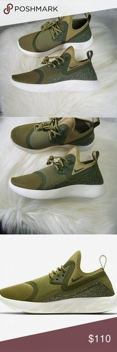 Nike Lunarcharge Essential Shoe in Camper Green New without box. Hard to find color. No lowball offers please.   Lunarcharge Essential Women's Shoe Nike 923620-300 Camper Green/Legion Green/Sequoia  The Nike LunarCharge EssentialWomen's Shoe combinesinnovative elements from some of Nike's most popular stylesto create a world-class lifestyle shoe.   Textile upper. Bootie construction delivers a sock-like fit. Lunarlon midsole for a smooth ride. Laser-siped outsole pods for flexibility and…