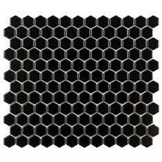 Bathroom floor tile? @Overstock - This glazed porcelain tile is perfect for your kitchen, bath, fireplace, pool, foyer or backsplash.  Black high gloss porcelain tiles will never go out of style.http://www.overstock.com/Home-Garden/SomerTile-Victorian-Hex-1-in-Black-Porcelain-Mosaic-Tile-Pack-of-10-11x12-in/6359111/product.html?CID=214117 $89.55