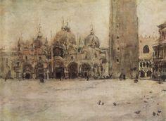 Valentin Serov, 'St. Mark Plaza in Venice', 1887. Oil on canvas. Tretyakov Gallery, Moscow, Russia.