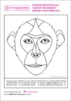 The ImaginationBox: celebrate the Year of the Monkey, Chinese New Year 2016 with this monkey face template, for doodling and mask making Asian New Year, Chinese New Year Crafts For Kids, Chinese New Year 2016, New Year's Crafts, Arts And Crafts, New Year Printables, Monkey Mask, New Year Art, Chinese Festival