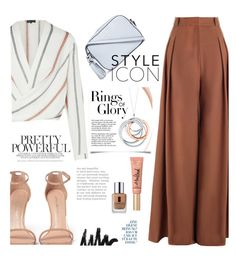 """#Ootd wide legs pants"" by kamarkhalili ❤ liked on Polyvore featuring Zimmermann, Stuart Weitzman, Tory Burch, Too Faced Cosmetics, Tiffany & Co. and Clinique"