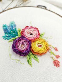 07d2bf495e6 Rainbow Flowers Embroidery Hoop Art