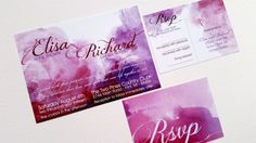 Watercolor wedding invitation  Purple by DesignedWithAmore on Etsy